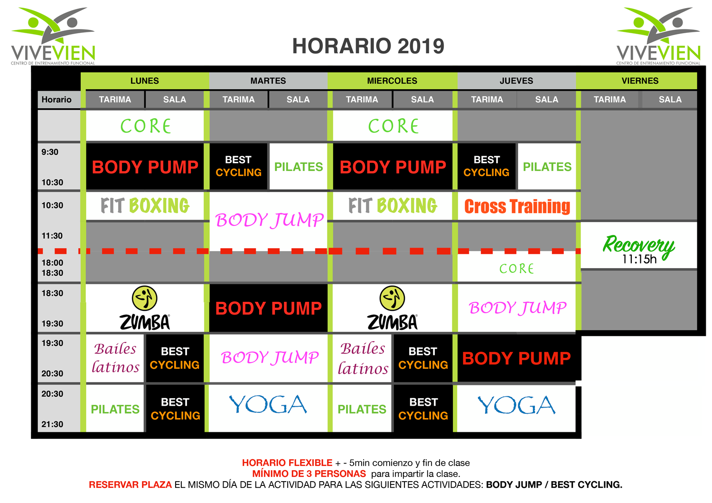 Horario ViveVien Abril 2019
